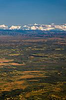 Aerial view of the Alaska range mountains and the Tanana Valley flats region south of Fairbanks, Alaska.