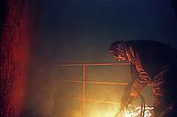 A worker at the Gaddani ship-breaking yard.