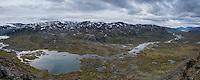Panoramic view over spectacular Alisvaggi from mountain viewpoint near Tjäktja hut, Kungsleden trail, Lapland, Sweden