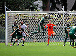13 September 2009: University of Vermont Catamount forward D.J. Edler (17), a Freshman from Atlanta, GA, heads the ball to make a save against the University of Massachusetts Minutemen during the second round of the 2009 Morgan Stanley Smith Barney Soccer Classic held at Centennial Field in Burlington, Vermont. The Catamounts and Minutemen battled to a 1-1 double-overtime tie. Mandatory Photo Credit: Ed Wolfstein Photo