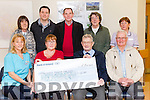 Cheque presentation to Palliative Care Unit Kerry University Hospital. Pictured front Aine Moriarty, Palliative Care, Patricia Horgans presenting a cheque for €1,600 to Ted Moynihan, Kerry Hospice, Joe McNamara Back l-r Theresa Hayes, Kieran O'Rourke, Jr. Kieran O'Rourke, Snr, Kathleen McElligott, Carmel O'Connor, Palliative Care