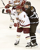 Caitlin Walsh (BC - 11), Paige Pyett (Brown - 2) - The Boston College Eagles defeated the visiting Brown University Bears 5-2 on Sunday, October 24, 2010, at Conte Forum in Chestnut Hill, Massachusetts.