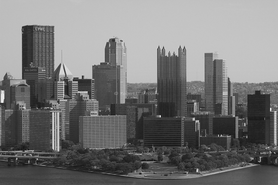 Pittsburgh - in monochrome - city skyline and downtown buildings in black and white