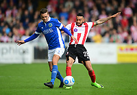Lincoln City's Nathan Arnold vies for possession with Macclesfield Town's David Fitzpatrick<br /> <br /> Photographer Chris Vaughan/CameraSport<br /> <br /> Vanarama National League - Lincoln City v Macclesfield Town - Saturday 22nd April 2017 - Sincil Bank - Lincoln<br /> <br /> World Copyright &copy; 2017 CameraSport. All rights reserved. 43 Linden Ave. Countesthorpe. Leicester. England. LE8 5PG - Tel: +44 (0) 116 277 4147 - admin@camerasport.com - www.camerasport.com