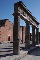 Colonnade and administrative buildings, Forum, Pompeii, 2nd century BC, showing the two-storey colonnaded porticoes with Doric columns