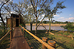 Treetop boardwalk and bird hide overlooking Limpopo River in Mapungubwe National Park, Limpopo Province, South Africa