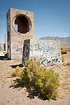 Abandoned concrete ruins and graffiti, U.S. Highway 95,Tonopah Jct., Nev.
