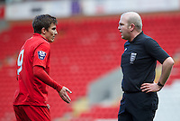 LIVERPOOL, ENGLAND - Easter Monday, April 1, 2013: Liverpool's Adam Morgan appeals for a penalty during the Under 21 FA Premier League match against Tottenham Hotspur at Anfield. (Pic by David Rawcliffe/Propaganda)