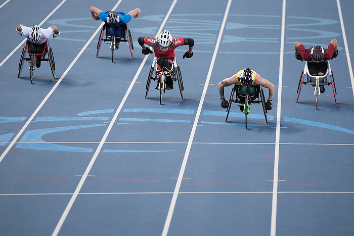 RIO DE JANEIRO - 11/9/2016:  Austin Smeenk competes in the Men's 100m - T34 Heat at the Olympic Stadium during the Rio 2016 Paralympic Games in Rio de Janeiro, Brazil. (Photo by Matthew Murnaghan/Canadian Paralympic Committee