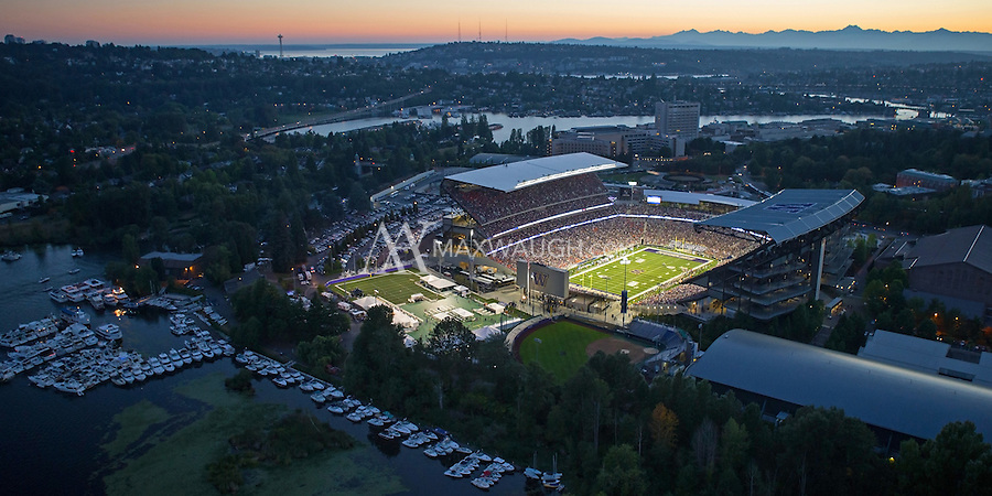 This photo was taken on Opening Night at the new Husky Stadium, during the game against the Boise State Broncos on August 31, 2013.<br /> <br /> This image is available as a Limited Edition metallic print measuring 30&quot; x 15&quot; (select the metallic print from the price options when you add to cart).  You may also purchase smaller lustre prints or license it for commercial use.<br /> <br /> *No, the watermark will not appear on the final image!