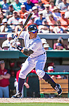 14 March 2014: Detroit Tigers infielder Miguel Cabrera in action during a Spring Training Game against the Washington Nationals at Joker Marchant Stadium in Lakeland, Florida. The Tigers defeated the Nationals 12-6 in Grapefruit League play. Mandatory Credit: Ed Wolfstein Photo *** RAW (NEF) Image File Available ***