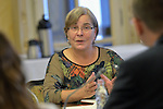 Doris Peschke, general secretary of the Churches' Commission for Migrants in Europe, speaks during a meeting in Budapest with Bence Retvari, the Parliamentary State Secretary of the Hungarian government Ministry of Human Resources on September 26, 2015. The meeting was part of a visit to Hungary by leaders of the CCME, the World Council of Churches, and the Conference of European Churches. The visit sought to strengthen efforts to support refugees and migrants. Members of the delegation met with Hungarian church leaders, government officials and members of international organizations.