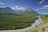King mountain, Matanuska river along the Glenn Highway, Chugach mountains. Alaska