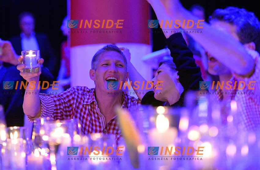 10.05.2014, Postpalast, Muenchen, GER, 1. FBL, FC Bayern Muenchen Meisterfeier, im Bild Bastian Schweinstieger of FC Bayern Muenchen celebrates Bastian Schweinstieger, // during official Championsparty of Bayern Munich at the Postpalast in Muenchen, Germany on 2014/05/11. EXPA Pictures &copy; 2014, PhotoCredit: EXPA/ Eibner-Pressefoto/ EIBNER<br /> <br /> *****ATTENTION - OUT of GER***** <br /> Football Calcio 2013/2014<br /> Bundesliga 2013/2014 Bayern Campione Festeggiamenti <br /> Foto Expa / Insidefoto