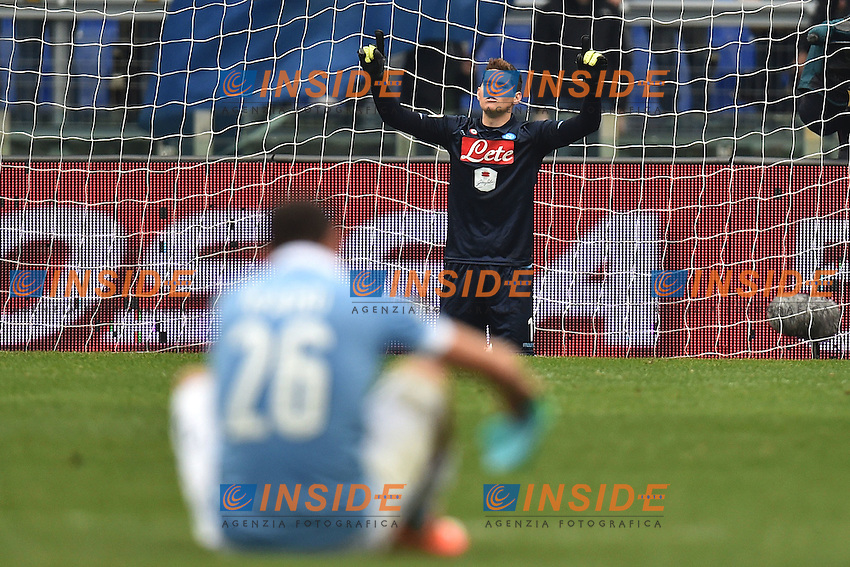 Rafael Cabral Barbosa Napoli prays at the end of the match <br /> Roma 18-01-2015 Stadio Olimpico, Football Calcio Serie A Lazio - Napoli. Foto Andrea Staccioli / Insidefoto