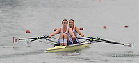 Ottensheim, AUSTRIA.  GBR JW2X, bow Olivia OAKES and Rachel GAMBLE-FLINT,   move away from the start pontoon in their morning semi-final, at the 2008 FISA Senior and Junior Rowing Championships,  Linz/Ottensheim. Friday,  25/07/2008.  [Mandatory Credit: Peter SPURRIER, Intersport Images] Rowing Course: Linz/ Ottensheim, Austria