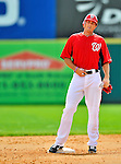12 March 2012: Washington Nationals infielder Mark Teahen stands on second during a Spring Training game against the St. Louis Cardinals at Space Coast Stadium in Viera, Florida. The Nationals defeated the Cardinals 8-4 in Grapefruit League play. Mandatory Credit: Ed Wolfstein Photo