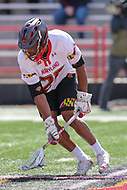 College Park, MD - April 1, 2017: Maryland Terrapins Isaiah Davis-Allen (26) scoops the ball during game between Michigan and Maryland at  Capital One Field at Maryland Stadium in College Park, MD.  (Photo by Elliott Brown/Media Images International)