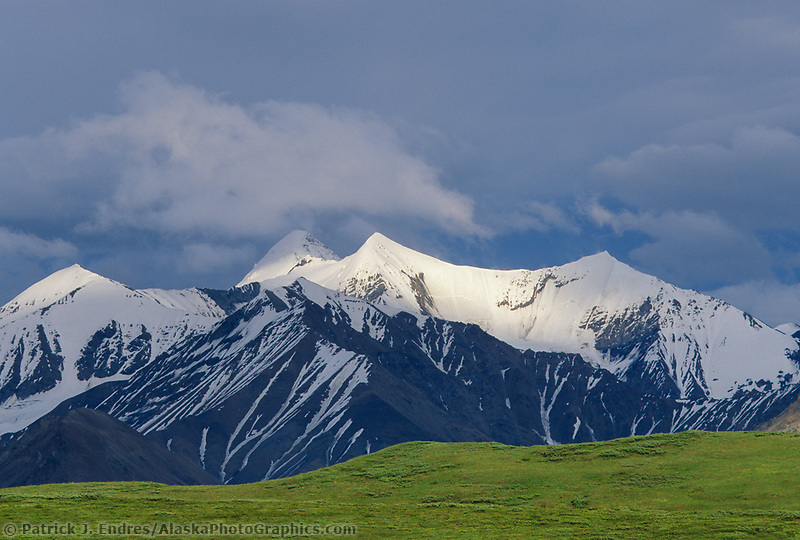 Snow covered Alaska Mountain Range, Denali National Park, Alaska