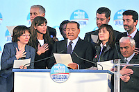 Rome, Italy - March 20, 2010 Italy's Prime Minister Silvio Berlusconi (centre) and a group of candidates to Regional Elections, swear they will serve the people once elected in front of some 300,000 supporters of his centre-right party.
