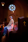 Richard Rodriguez poses for a portrait in Sacred Heart Church in Sacramento, California, July 31, 2013.