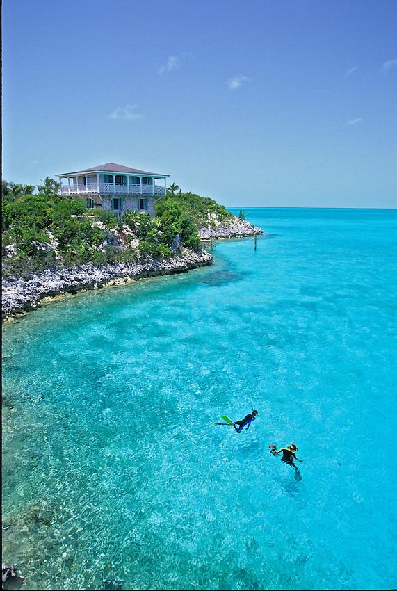 Snorkelers at Sampson Cay, Exumas, Bahamas Out Islands