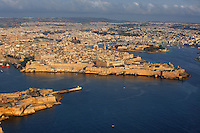 Aerial view of Valletta, Malta, featuring  the harbours, pictured on June 7, 2008, in the morning.  The Republic of Malta consists of seven islands in the Mediterranean Sea of which Malta, Gozo and Comino have been inhabited since c.5,200 BC. Nine of Malta's important historical monuments are UNESCO World Heritage Sites, including  the capital city, Valletta, also known as the Fortress City. Built in the late 16th century and mainly Baroque in style it is named after its founder Jean Parisot de Valette (c.1494-1568), Grand Master of the Order of St John. Picture by Manuel Cohen.