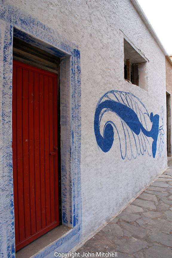 Restored building in the ghost town of Cerro de San Pedro, San Luis Potosi state, Mexico