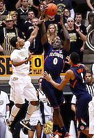 WEST LAFAYETTE, IN - JANUARY 02:  Ronnie Johnson #3 of the Purdue Boilermakers goes up to defend the shot of Sam McLaurin #0 of the Illinois Fighting Illini at Mackey Arena on January 2, 2013 in West Lafayette, Indiana. Purdue defeated Illinois 68-61. (Photo by Michael Hickey/Getty Images) *** Local Caption *** Ronnie Johnson; Sam McLaurin