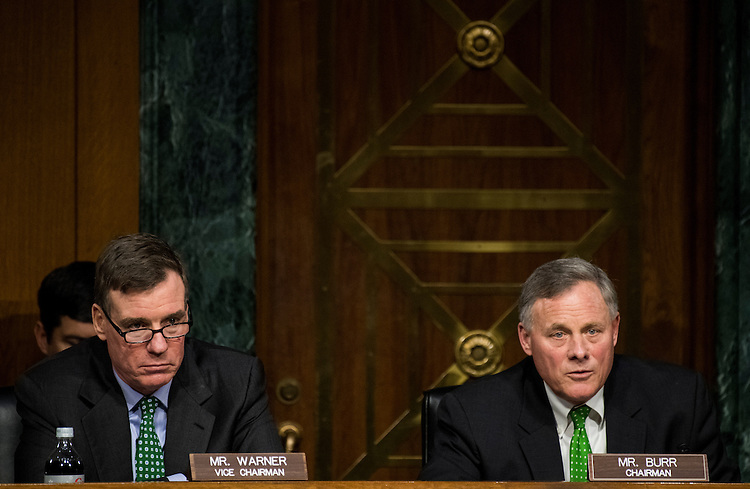 UNITED STATES - FEBRUARY 28: Chairman Sen. Richard Burr, R-N.C., right, and vice chairman Sen. Mark Warner, D-Va., participate in the confirmation hearing for former Sen. Dan Coats, R-Ind., nominee to be Director of National Intelligence, in the Senate Select Committee on Intelligence on Tuesday, Feb. 28, 2017. (Photo By Bill Clark/CQ Roll Call)