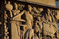 Reliefs by Anna Quinquaud, 1890-1984, on the Residence Lucien Paye, designed by Jean Vernon, Bruno Philippe and Albert Laprade, 1883-1978, and inaugurated 1949, in the Cite Internationale Universitaire de Paris, in the 14th arrondissement of Paris, France. Originally the Overseas French Territories House, the building was later used to house students from Sub-Saharan African countries. Pierre Meauze, 1913-1978, sculpted the pillars at the entrance and Anna Quinquaud made the bas-reliefs on the facade. The CIUP or Cite U was founded in 1925 after the First World War by Andre Honnorat and Emile Deutsch de la Meurthe to create a place of cooperation and peace amongst students and researchers from around the world. It consists of 5,800 rooms in 40 residences, accepting another 12,000 student residents each year. Picture by Manuel Cohen. L'autorisation de reproduire cette œuvre doit etre demandee aupres de l'ADAGP/Permission to reproduce this work of art must be obtained from DACS.
