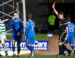 St Johnstone v Celtic..30.10.10  .Danny Grainger is sent off by Calum Murray.Picture by Graeme Hart..Copyright Perthshire Picture Agency.Tel: 01738 623350  Mobile: 07990 594431