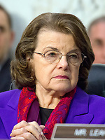 United States Senator Dianne Feinstein (Democrat of California), Ranking Member, US Senate Judiciary Committee, listens as Judge Neil Gorsuch testifies before the committee on his nomination as Associate Justice of the US Supreme Court to replace the late Justice Antonin Scalia on Capitol Hill in Washington, DC on Wednesday, March 22, 2017.<br /> Credit: Ron Sachs / CNP /MediaPunch