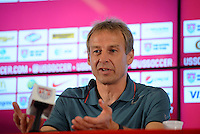 Sao Paulo, Brazil - Wednesday, July 2, 2014: Jurgen Klinsmann holds a press conference at Sao Paulo FC after a 2-0 loss to Belgium in the 2014 World Cup.