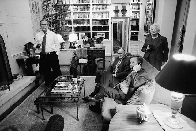 November 7-November 8, 2000, Austin, Texas, USA --- Presidential candidate George W. Bush awaits the poll results with his family at the Governor's Mansion in Austin, Texas, on Election Day, 2000. Left to right: George W. Bush, his father and former President George Bush, Sr., his brother Jeb Bush, and his mother and former First Lady Barbara Bush. --- Image by © Brooks Kraft/Sygma/Corbis