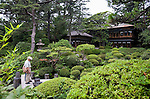 """Photos shows the 200-year-old Kakubuen garden and Seienkaku """"palace"""", which is now the main building of the Honma Museum of Art in Sakata, Yamagata Prefecture, Japan, on July 06, 2012. The first floor of the museum's main building was built 200 years ago as the vacation villa of the Honma family, a respected trading clan, while the second floor was added 100 years ago in anticipation of a visit by the then emperor. Photographer: Robert Gilhooly"""