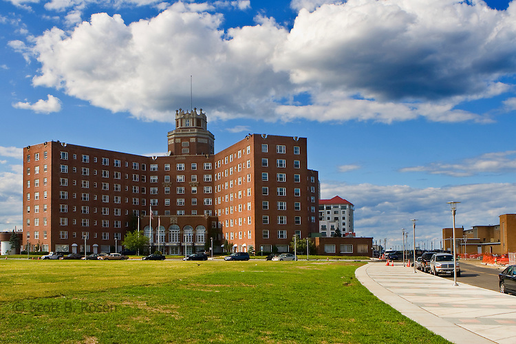 The historic Berkeley Carteret Hotel across the Atlantic Square Park in Asbury Park, New Jersey