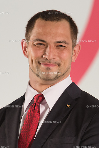 Koji Murohushi, JULY 24, 2015 : Koji Murofushi, Olympic gold medal-winning hammer thrower and Tokyo 2020 Sports Director, attends an unveiling event for the Tokyo 2020 Olympic and Paralympic games official emblems at Tokyo Metropolitan Government Building in Tokyo July 24, 2015. The Tokyo Organising Committee of the Olympic and Paralympic Games unveiled the emblems on Friday, to mark the exactly five years before the 2020 Summer Games open in Tokyo. (Photo by AFLO)