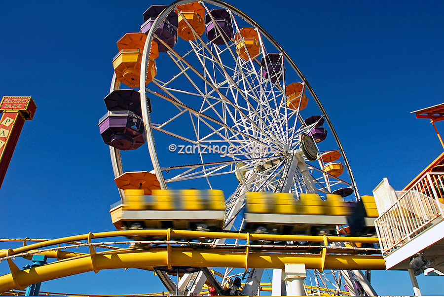 Santa Monica, CA, Ferris Wheel & Roller Coaster in motion, Roller Coaster, Los Angeles CA; Travel; Destination; View; Unique; Quality
