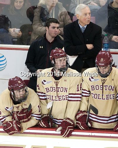 Cam Spiro (BC - 15), Matt Malloy (BC - Student Manager), Adam Gilmour (BC - 14), Jerry York (BC - Head Coach), Destry Straight (BC - 17) - The Boston College Eagles defeated the visiting University of Michigan Wolverines 5-1 (EN) on Saturday, December 13, 2014, at Kelley Rink in Conte Forum in Chestnut Hill, Massachusetts.