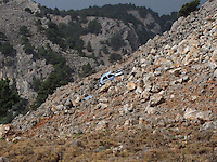 A car crash in the mountains of Crete, the most southern Greek Island.