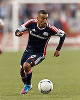 New England Revolution forward Fernando Cardenas (80) dribbles. In a Major League Soccer (MLS) match, the New England Revolution tied the Columbus Crew, 0-0, at Gillette Stadium on June 16, 2012.