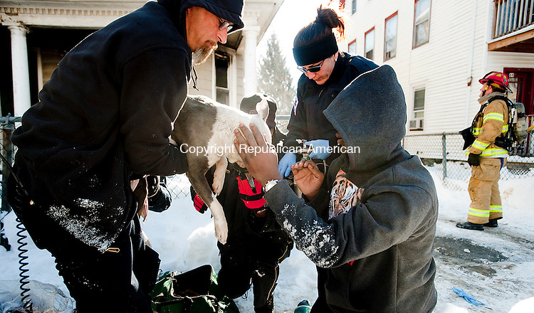 WATERBURY, CT FEBRUARY 11, 2014_ 020714JS08-Garrett Piper of Waterbury, right, comforts his 8 month-old puppy Polo, as he is being tended to by emergency personnel after being pulled from a house fire that broke out inside a home at 70 Rose Street in Waterbury on Tuesday afternoon. <br /> Jim Shannon Republican-American
