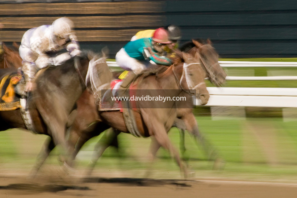 Jockey Julien Leparoux (C, red cap) rides in a race in Saratoga Springs, NY, United States, 5 August 2006.