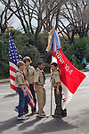 El Cerrito CA Boy scouts, age 12, getting ready to lead Little League opening day parade