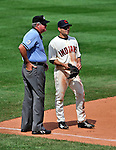 14 September 2008: Cleveland Indians' infielder Jamey Carroll has a moment to chat with Umpire Crew Chief Tim Welke during a game against the Kansas City Royals at Progressive Field in Cleveland, Ohio. The Royal defeated the Indians 13-3 to take the 4-game series three games to one...Mandatory Photo Credit: Ed Wolfstein Photo