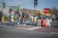 race leaders Greg Van Avermaet (BEL/BMC), Philippe Gilbert (BEL/Quick Step floors) &amp; Oliver Naesen (BEL/AG2R-LaMondiale) in the last kilometers<br /> <br /> 60th E3 Harelbeke (1.UWT)<br /> 1day race: Harelbeke &rsaquo; Harelbeke - BEL (206km)