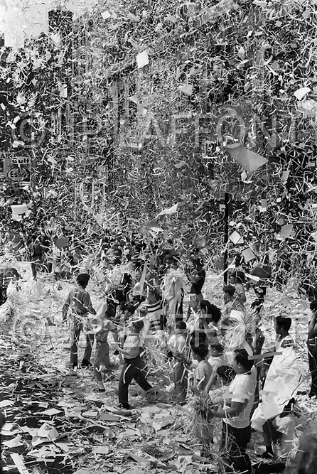 New York City, NY. August 13th 1969. <br /> The crowd celebrates by showering ticker tape during the parade of The Apollo XI astronauts: Neil Armstrong, Buzz Aldrin &amp; Michael Collins through New-York. The three astronauts teamed for the first manned lunar landing, on July 20, 1969.