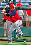 6 March 2009: Washington Nationals' third baseman Matt Whitney takes batting practice prior to a Spring Training game against the Baltimore Orioles at Fort Lauderdale Stadium in Fort Lauderdale, Florida. The Orioles defeated the Nationals 6-2 in the pre-season Grapefruit League matchup. Mandatory Photo Credit: Ed Wolfstein Photo
