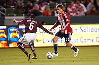 CD Chivas USA forward Justin Braun (17) moves towards the goal while been marked by Rapids defender Anthony Wallace (6). The Colorado Rapids defeated CD Chivas USA 1-0 at Home Depot Center stadium in Carson, California on Saturday March 26, 2011...